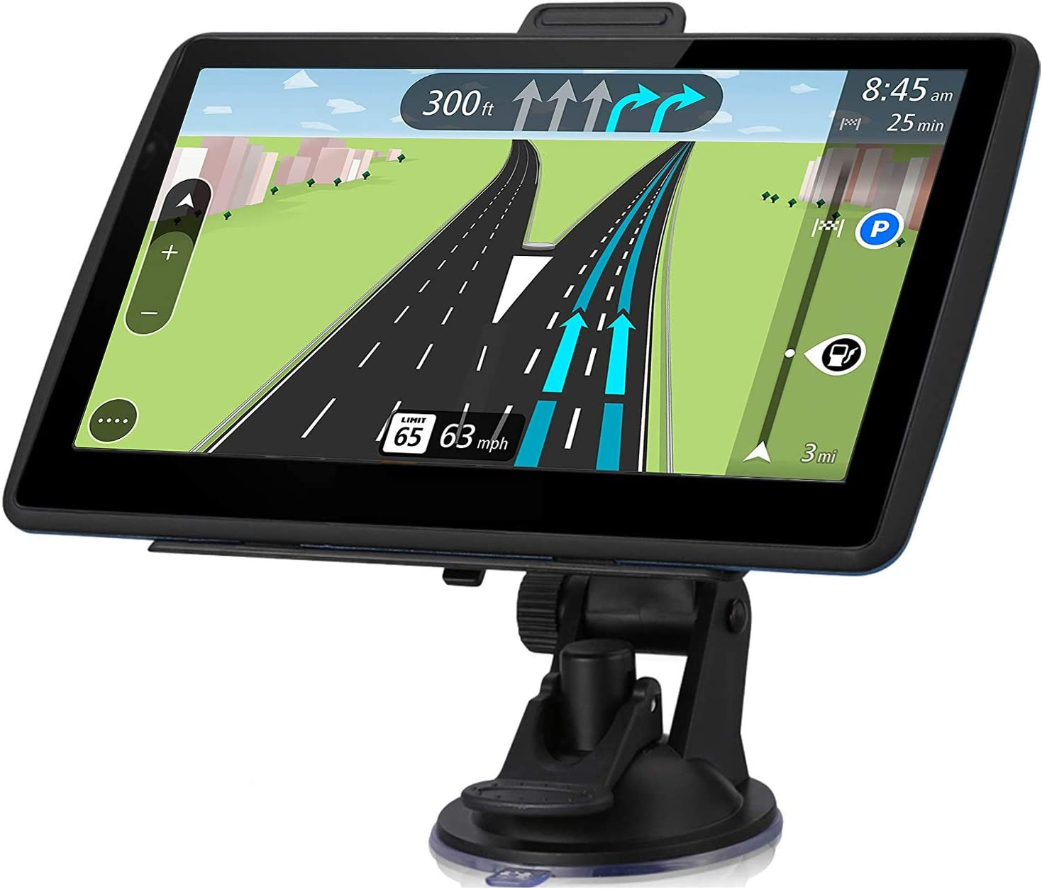 GPS Navigation for Car,7-inch Touch Screen Car GPS Real Voice Spoken Turn-by-Turn Direction Reminding Navigation System for Cars Vehicle GPS Satellite Navigator with Free Lifetime Map Update