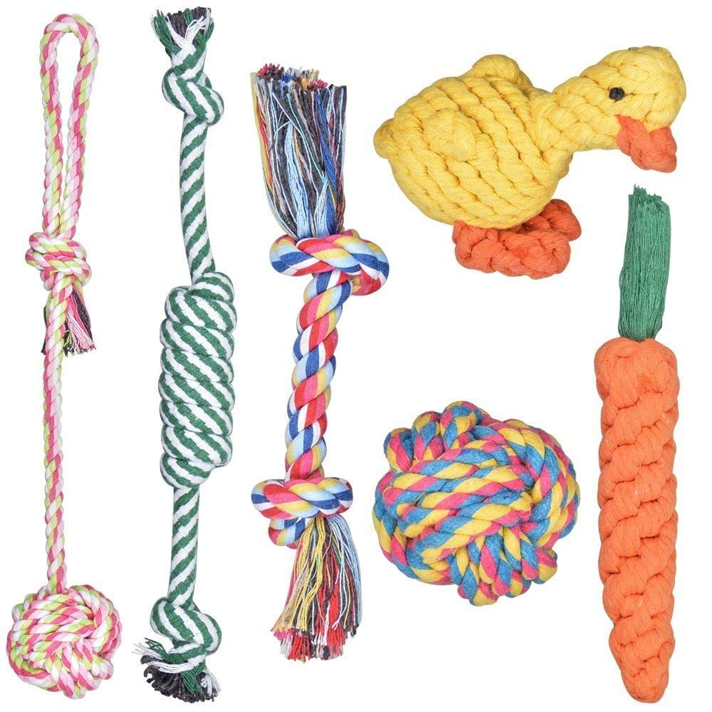Achort 6pcs Ensemble de jouets pour chien, Pet Dog Coton tressé Cordes Corde Jouets à mâcher en forme d'os jouet Canard Balle à tirer pour petit chiot Chiens de taille moyenne à jouer et l'hygiène dentaire de nettoyage