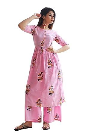 05b01b0852 Ashwati Women's Cotton Kurti with Palazzo Pant Set (Pink, Medium/Bust 38-