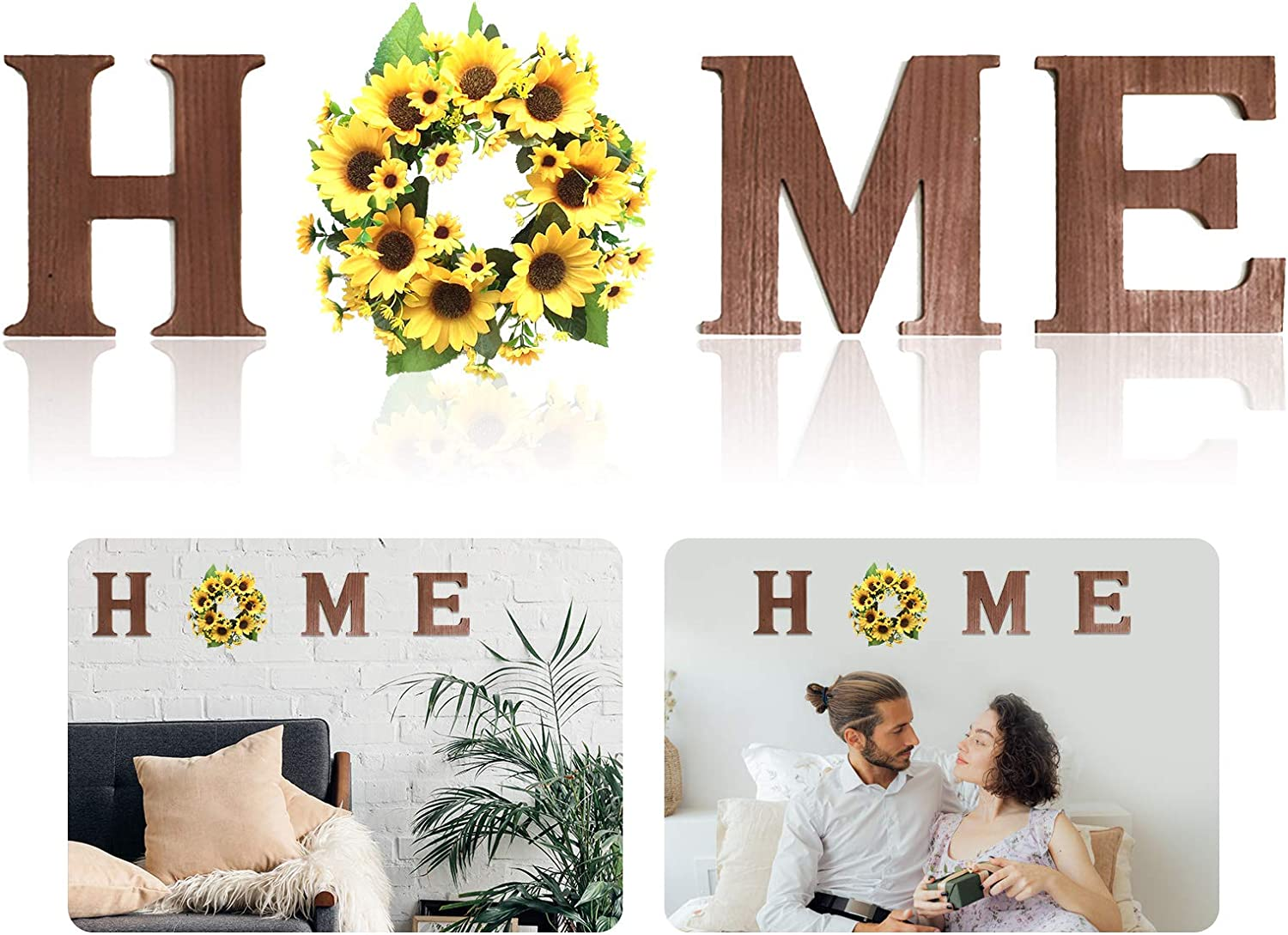 Housewarming Gift for New Home, Wall Hanging Wood Home Sign with Artificial Sunflower Wreath, Rustic Wooden Home Hanging Letters, Decorative Wall Decor Signs for Home Decor Living Room House