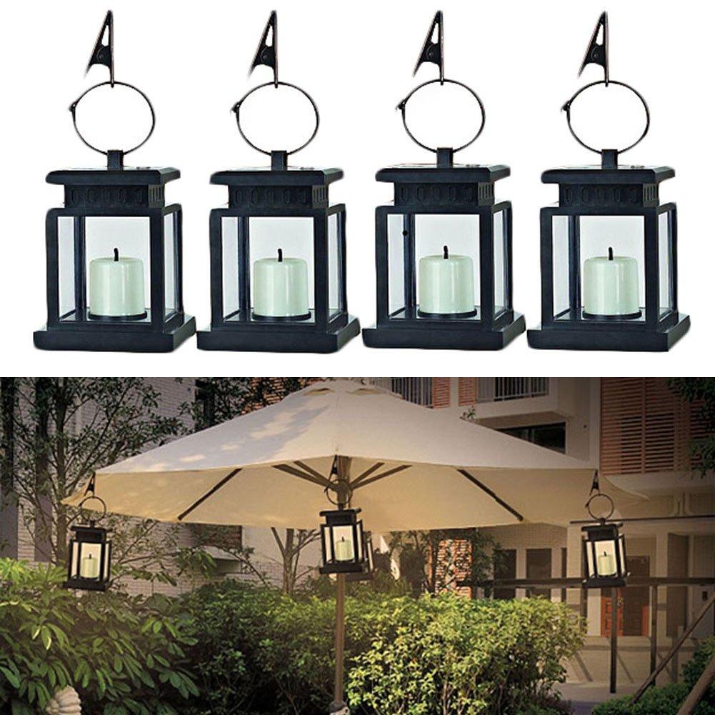Waterproof Vintage Solar Led Lantern Light with Clamp for Beach Umbrella Hanging Pavilion Garden Yard Lighting by Beisaqi (Image #2)
