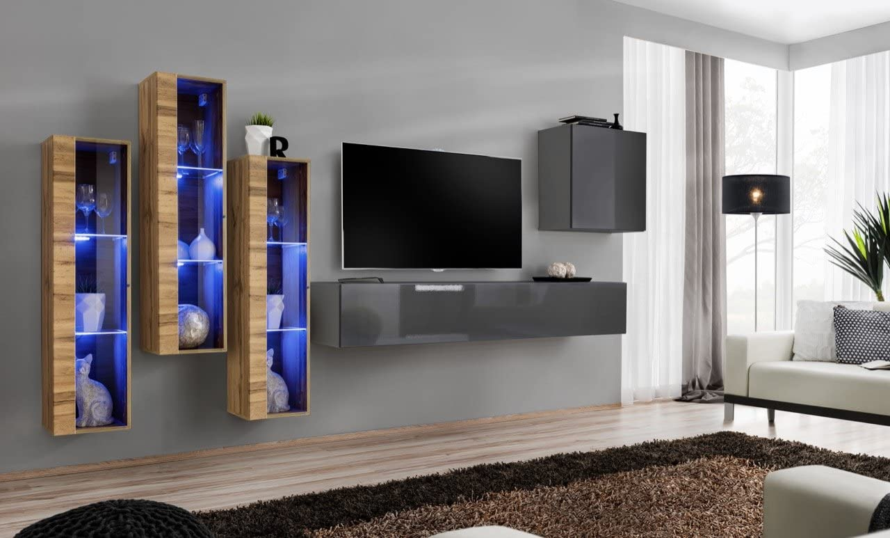 Domadeco Soho 13 wall mounted cabinets modern unique furniture for living room Color (Grey & Oak)