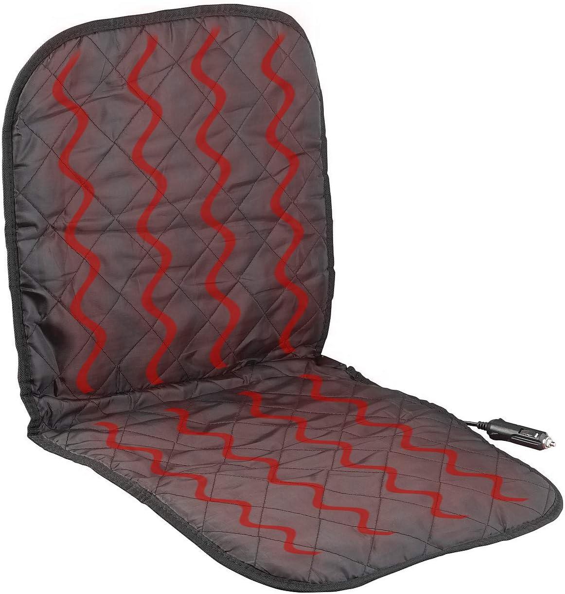 Lescars Almohadilla para asiento de coche: Funda de asiento de vehículo universal con calefacción para la conexión de 12 voltios (Calentable Forro de asiento)