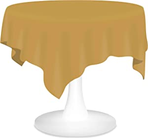 Gold Plastic Tablecloths Christmas Disposable Table Covers 6 Pack Party Tablecovers 84 Inch Vinyl Circle Table Cloths for Round Tables up to 6 ft and for Fall Birthday Wedding Xmas New Year Banquet