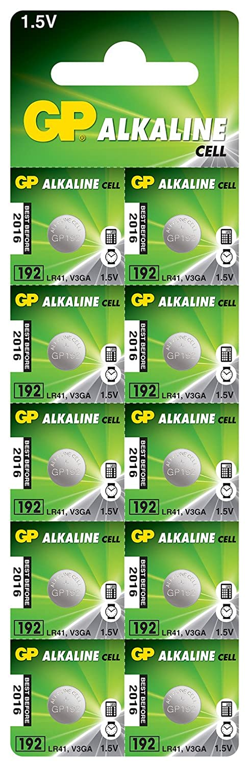 GP Alkaline Cell Battery LR41 192 1.5V [10 Pack] kenable 192F-2C10