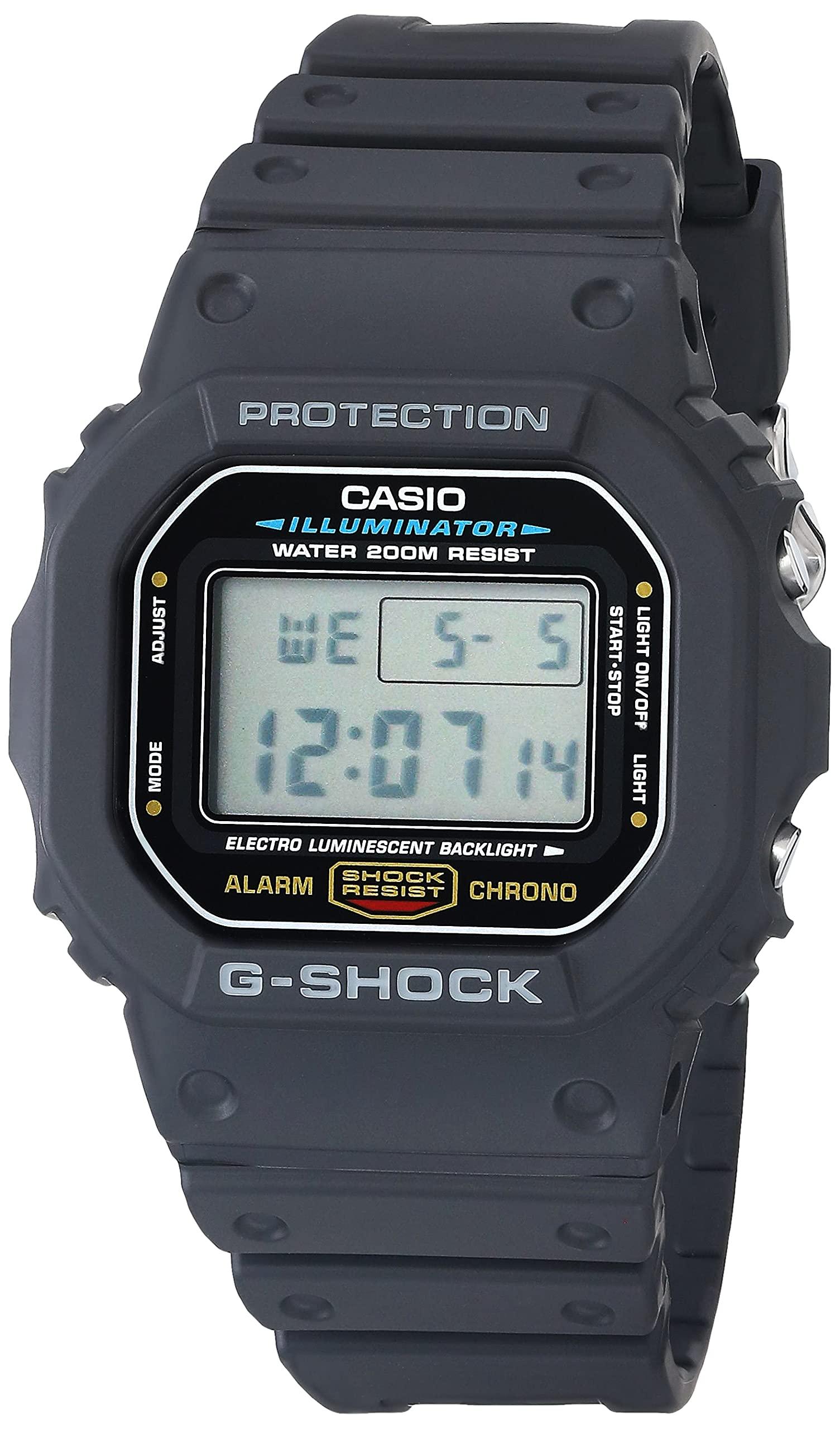 Men's G-Shock Quartz Watch with Resin Strap, Black, 20 (Model: DW5600E-1V)