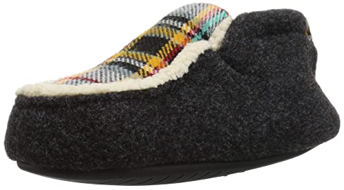 386ab2b8cb57 Dearfoams Boys  Kid s Felt and Plaid Bootie Slipper