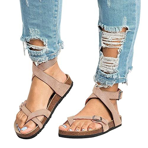 4c56717ea Chenghe Women's Fashion Flat Ankle Buckle Sandals Gladiator Thong Flip Flop  Mayari Sandals