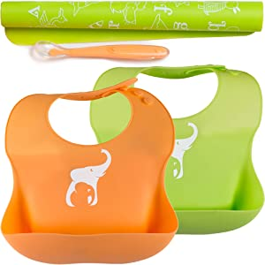 Premium Silicone Baby Bibs Set | Waterproof Silicone Bibs PVC and BPA Free! Designed to Ease Feeding for Babies and Toddlers! Easy to Clean! Roll up Travel!