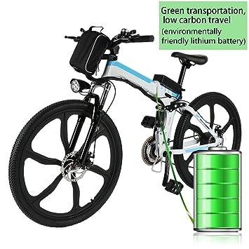 Coorun Bicicleta eléctrica Plegable montaña, batería 36 V 250 W con batería de Litio de