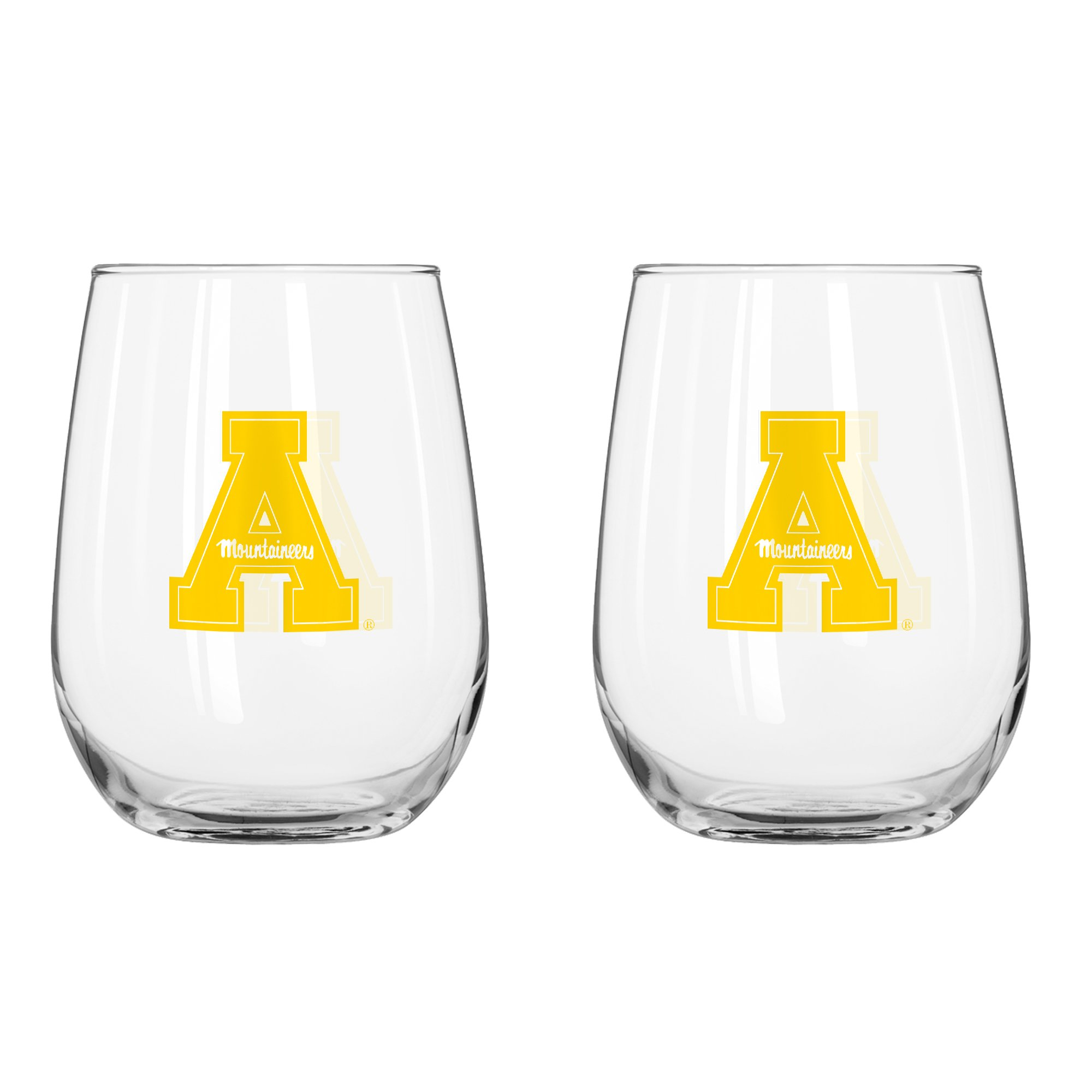NCAA Appalachian State Mountaineers Curved Beverage Glass, 16-ounce, 2-Pack
