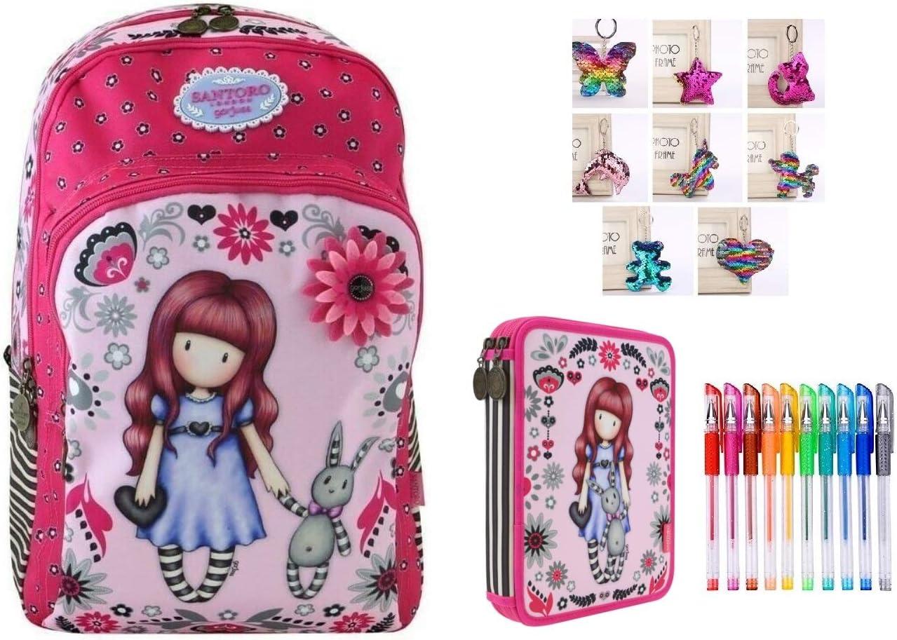 Mochila Escolar Santoro Gorjuss London My Gift To You + Estuche de 2 Pisos Completo + Llavero con Brillantina + Paquete de 10 bolígrafos con Purpurina: Amazon.es: Equipaje