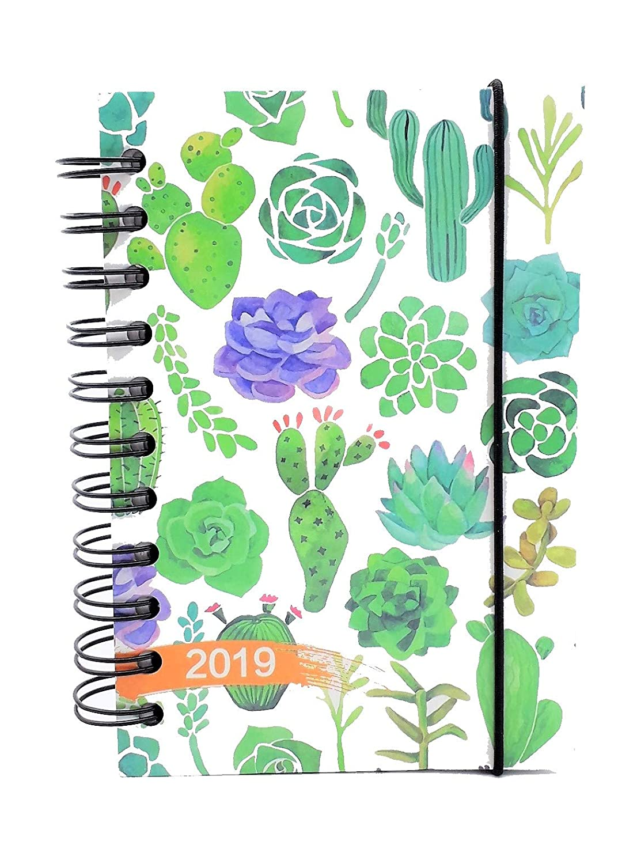 lagom Agenda diaria 2019 fantasía en Espiral 12 meses formato de bolsillo 10 x 15 cm, color ABSTRACT CACTUS