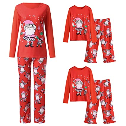 8d1b488d18 Iusun Matching Family Pajamas Christmas Santa Claus Long Sleeves Sleepwear  Flannel PJs for Men Women Baby