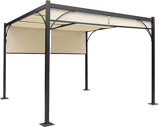 Mendler Pergola Granada - Cenador para el jardín o la terraza, estructura estable de 6 cm de aluminio + techo de 3 x 3 m: Amazon.es: Jardín