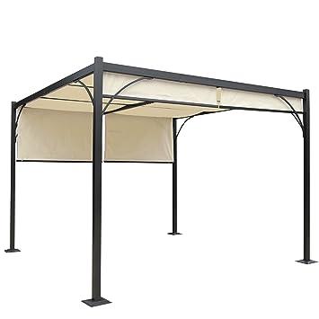 Pergola Granada, Cenador, estructura estable de 6 cm de aluminio + techo de 3 x 3 m: Amazon.es: Jardín