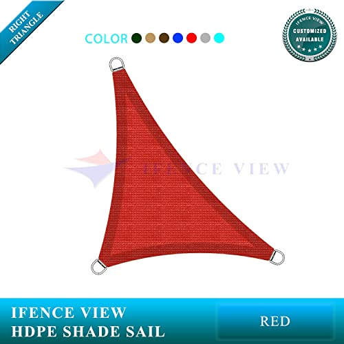 Ifenceview Right Triangle UV Sun Shade Sail for Patio Yard Driveway Canopy Awning Outdoor Facility 8 x8 x11.3 , Red