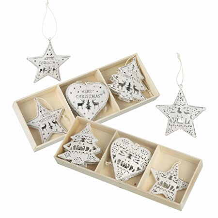 set of 12 white metal christmas tree decorations 8cm