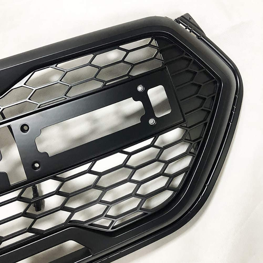 AniFM Black Front Racing LED Grille Raptor Rrills Rront Bumper Mask for ESCAPE KUGA 2017 2018 AUTO GRILL ACCESSORIES Modified Accessories