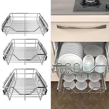 AIMADO Cajon Telescópico de Cocina Cesta Telescopica del Acero Inoxidable para los Armarios Estantes Estanterias Soportes