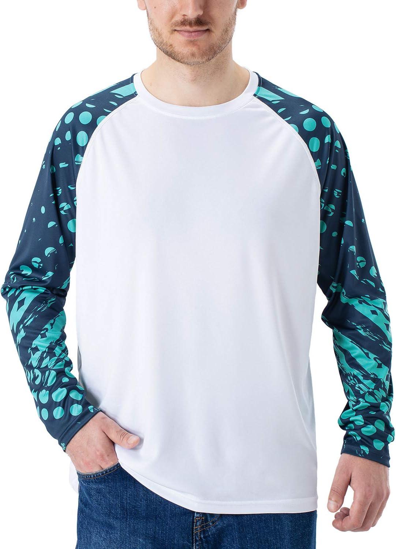 NAVISKIN Camiseta Deportiva Protecci/ón UV UPF 50 Manga Larga Cuello Redondo para Hombre Acampada Senderismo El/ástica T/érmica Casual Transpirable