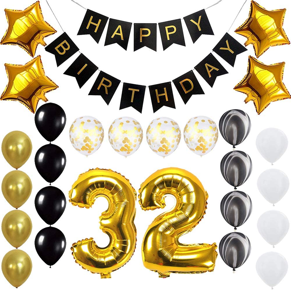 Happy 32nd Birthday Banner Balloons Set for 32 Years Old Birthday Party Decoration Supplies Gold Black