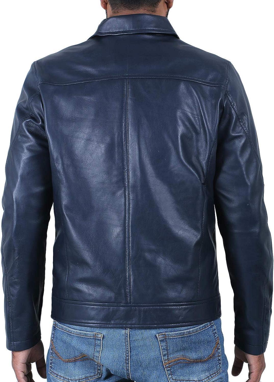 1510514 Lasumisura Mens Black Genuine Lambskin Leather Jacket