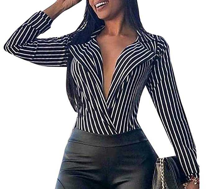 2216584166db Comaba Women Classic Fit Pinstripe Deep V Neck Contrast Dress Shirt Black XS