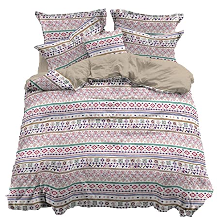 4a3468b1c928 Sookie Duvet Cover Set Quilt with Modern and Bohemia Style Geometric  Multi-colored Stripe Print
