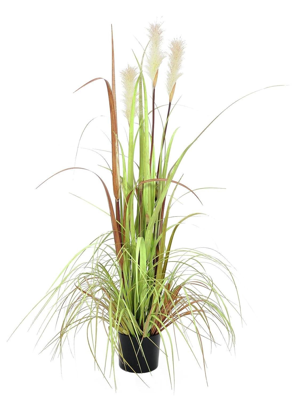 Artplants Deko Federgras mit 3 Rispen, real Touch, 120 cm - Kunstpflanzen Gras Grasbündel