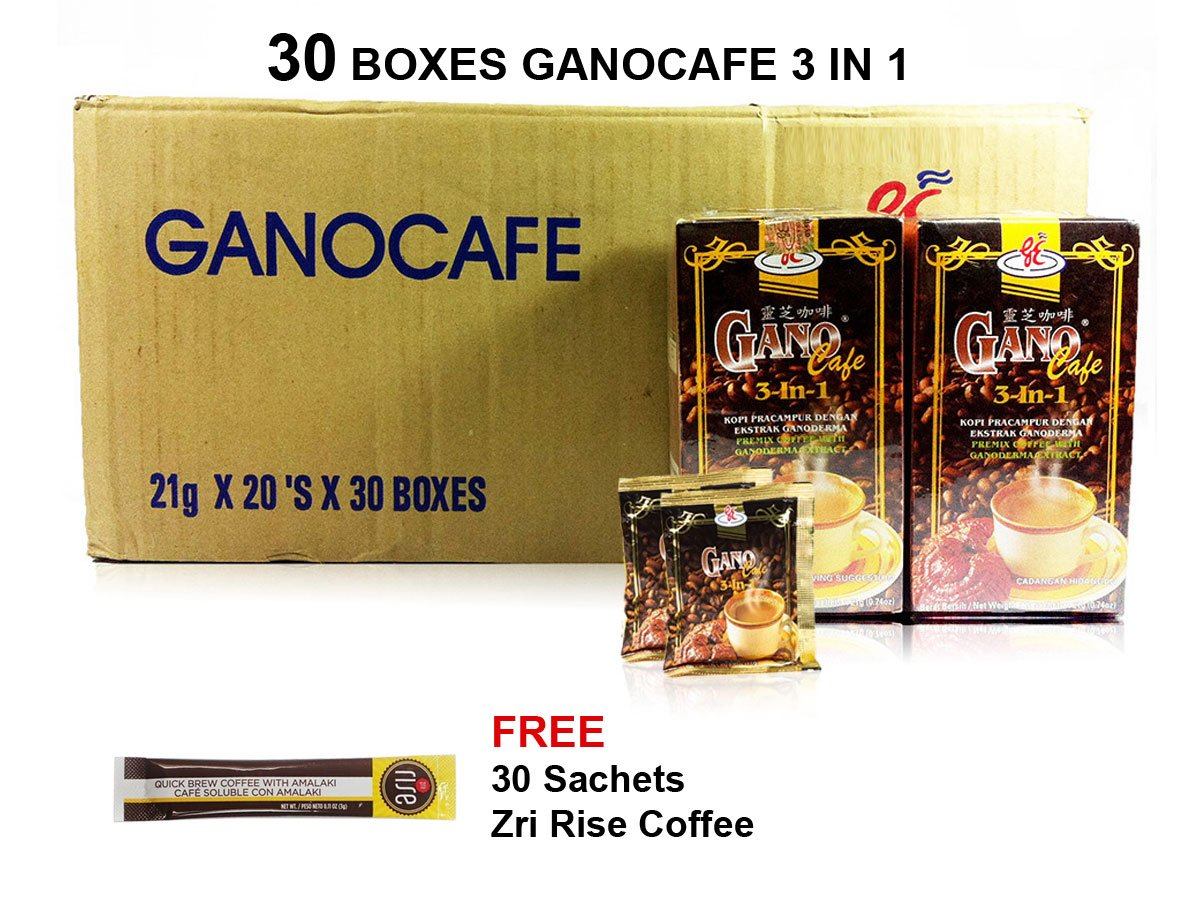 30 Boxes Gano Excel GanoCafe 3 in 1 Ganoderma Healthy Latte Coffee + Free Zrii Coffee by Gano Excel