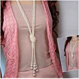 Binmer(TM) Long Knotted Pearl Necklace Women Fashion Sweater Chain Clothing Accessories Jewelry for Girl
