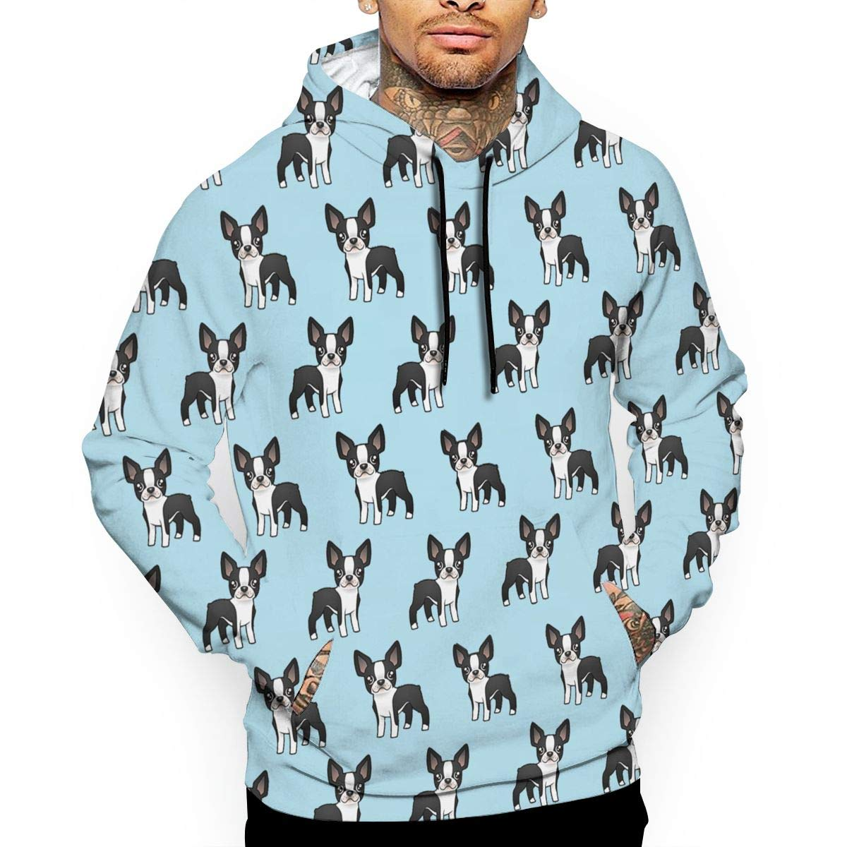 Cute Boston Terrier My Best Friend T-Shirt Hooded with A Pocket Rope Hat Customization Fashion Novelty 3D Mens