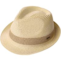 af73fc993a9 Packable Straw Fedora Panama Sun Summer Beach Hat Cuban Trilby Men Women  55-61cm