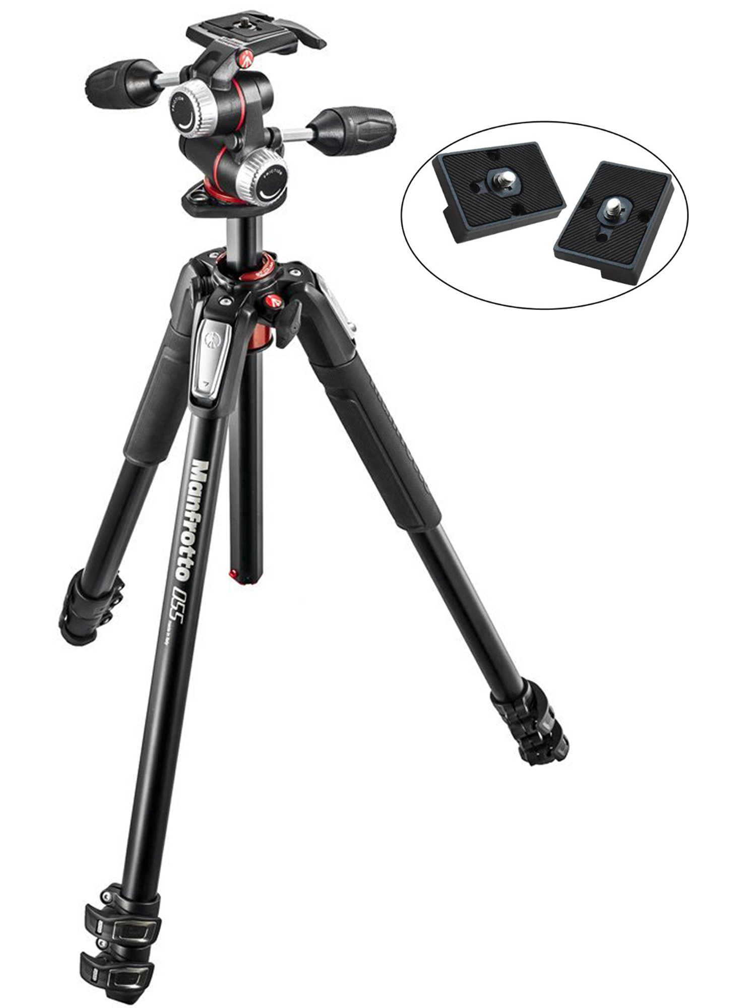 Manfrotto MK055XPRO3-3W 055 Kit Aluminium 3-Section Horizontal Column Tripod with 3-Way Head and Two ZAYKIR Quick Release Plates for the RC2 Rapid Connect Adapter