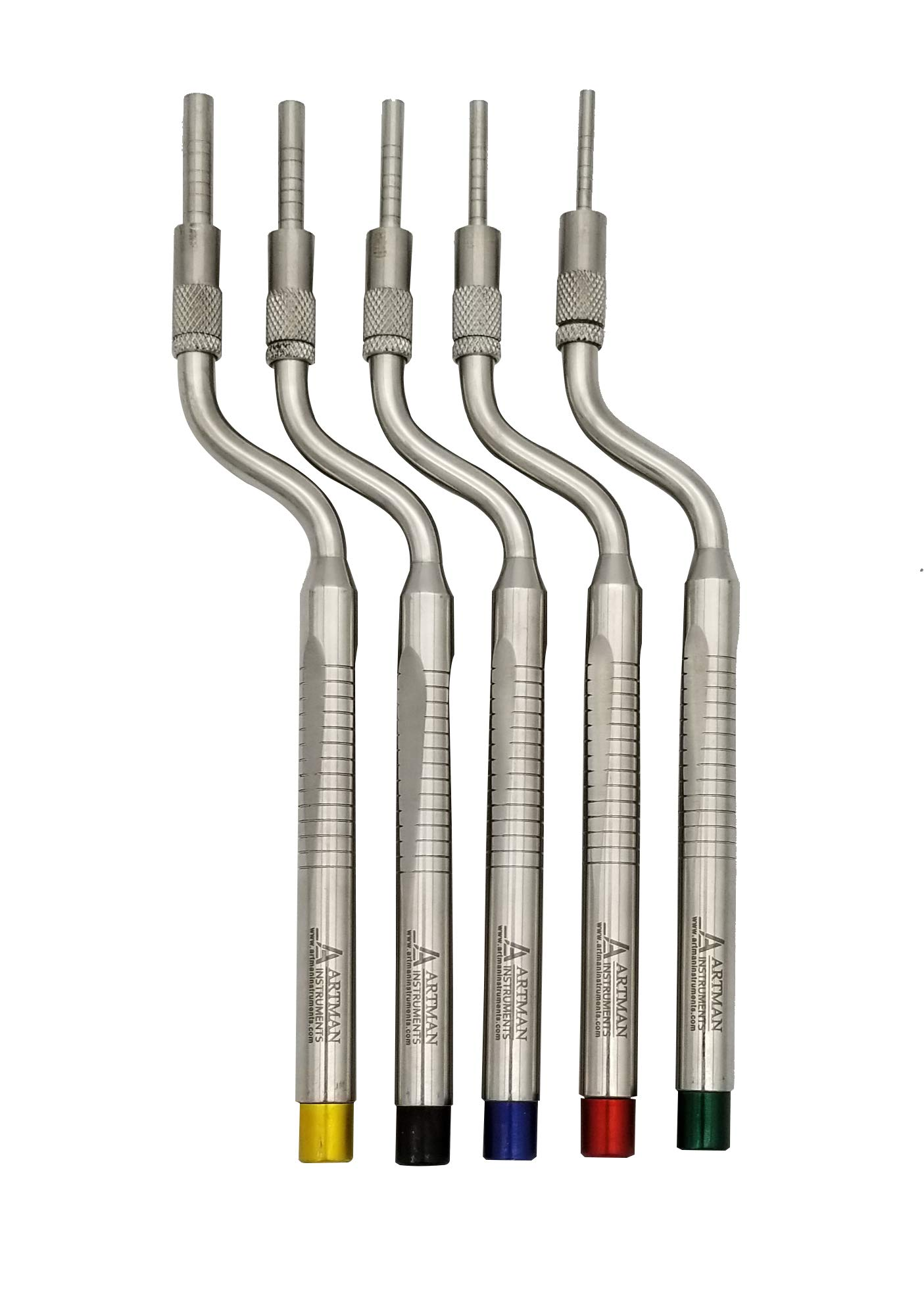 Osteotomes Set (5 pcs) Color Coded Adjustable Screw Concave Tip for Dental Implantologists, Bone Spreading, Sinus Lift by ARTMAN
