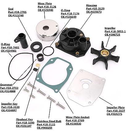 Amazon com: KONDUONE New Complete Water Pump Impeller Kit