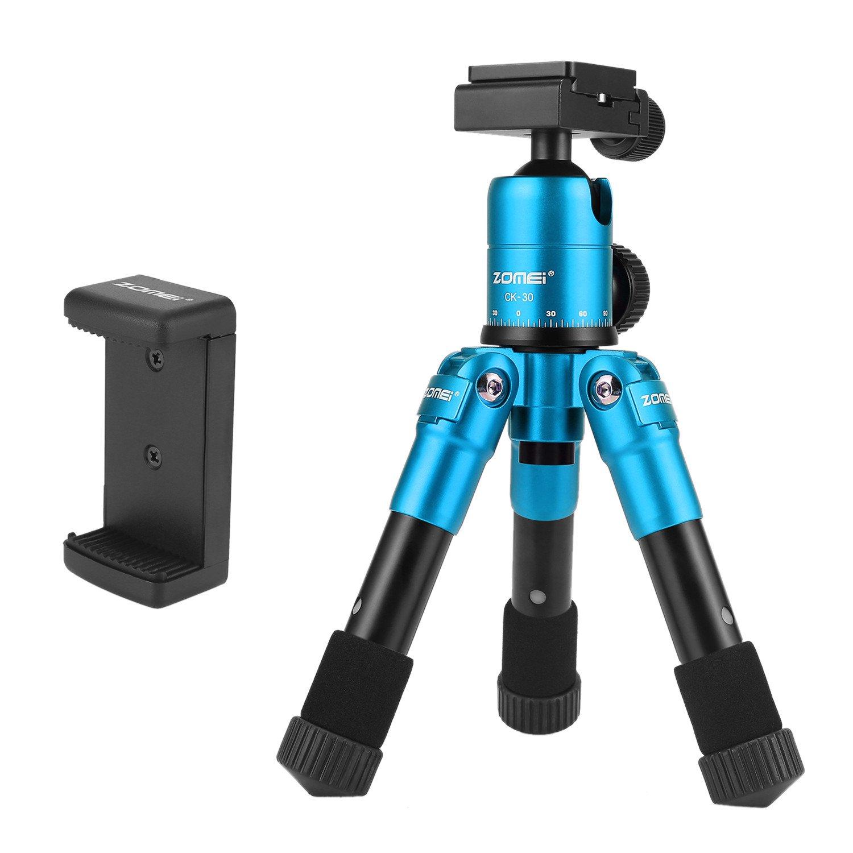 ZOMEI ZM-CK30-BIUE Portable Compact Desktop Macro Mini Tripod With 360 Degree Ball Head, Quick Release Plate, Bag For DSLR Camera, Video Camcorder, Blue