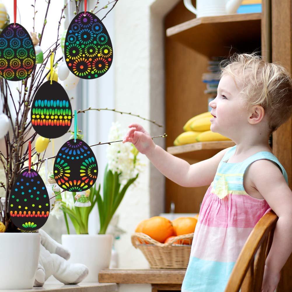 Koogel Osterei Kratzbilder, 36 Stück Kratzpapier Bastelset Kinder mit Holzstäbchen und Buntem Band für Ostern Geburtstag Party Dekoration DIY Handwerk