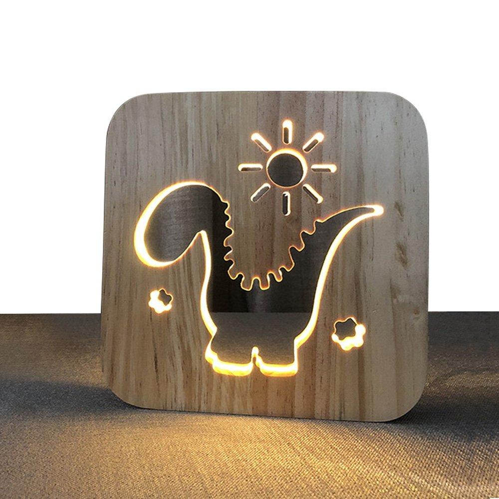 Dinosaur Shape Hollow Wooden Night Lamp for Kids,Baby Child Nursery Night Light Bedside Bed Home Decor Lamp,Creative Birthday Gift for Kids,Bedroom Living Room Nightstand 3D Wood Light