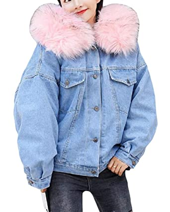 949c64bffe202 Cromoncent Women s Coat Thick Boyfriend Fleece Hoodie Plus Size Denim  Jacket Blue S