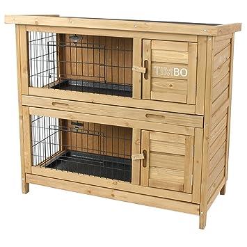 Clapier EMMA à 2 étages - 92x45x81 cm - Cage pour les petits animaux ... 556911fb27c