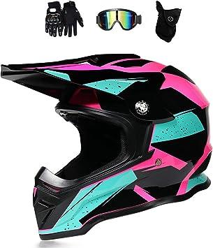 Motocross Helm Damen Pink Schwarz Mit Brille Handschuhe Maske Motorrad Crosshelm Adult Fullface Helm Motorradhelm Enduro Mtb Off Road Downhill Mountainbike Bmx Bike Atv Cross Country Sport Freizeit