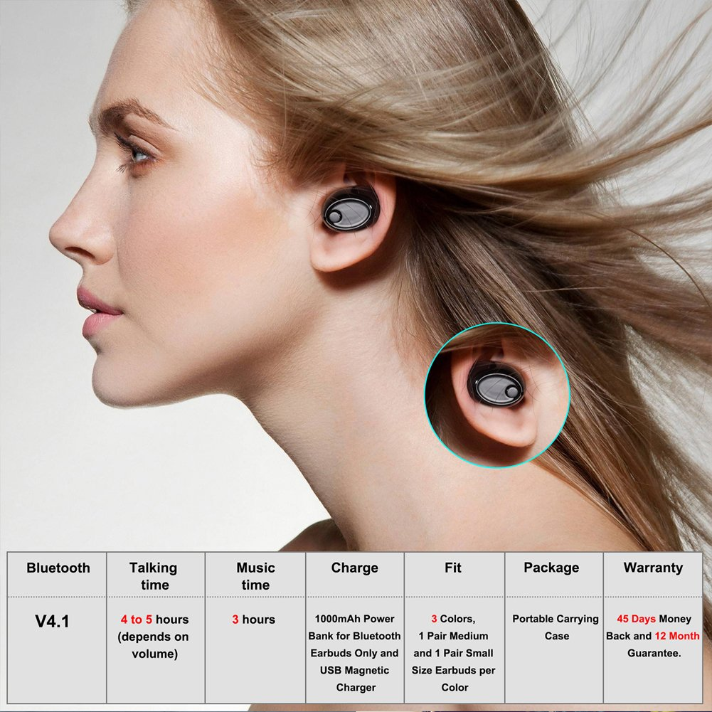 Mini Bluetooth Earbuds, PChero Wireless Invisible Headphone with Built-in Mic and Charging Box, Ideal for iOS Android Smartphones Tablets (Black, Double Ears) by PChero (Image #5)