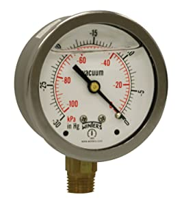 "Winters PFQ Series Stainless Steel 304 Dual Scale Liquid Filled Pressure Gauge with Brass Internals, 30""Hg Vacuum/kpa, 2-1/2"" Dial Display, +/-1.5% Accuracy, 1/4"" NPT Bottom Mount"