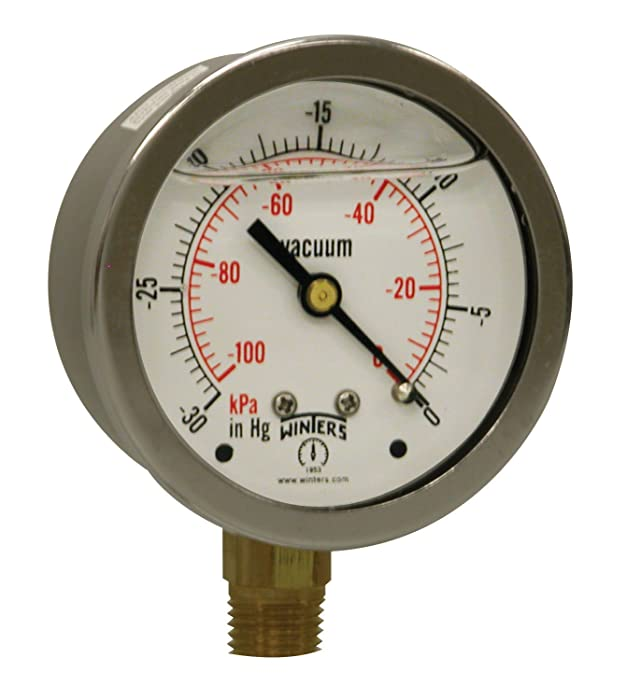 """Winters PFQ Series Stainless Steel 304 Dual Scale Liquid Filled Pressure Gauge with Brass Internals, 30""""Hg Vacuum/kpa, 2-1/2"""" Dial Display, +/-1.5% Accuracy, 1/4"""" NPT Bottom Mount"""