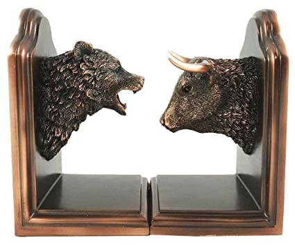 Charmant Wallstreet Stock Market Bull And Bear Head Bookends Bronze Electroplated  Figurine Investors Gifts Money Managers