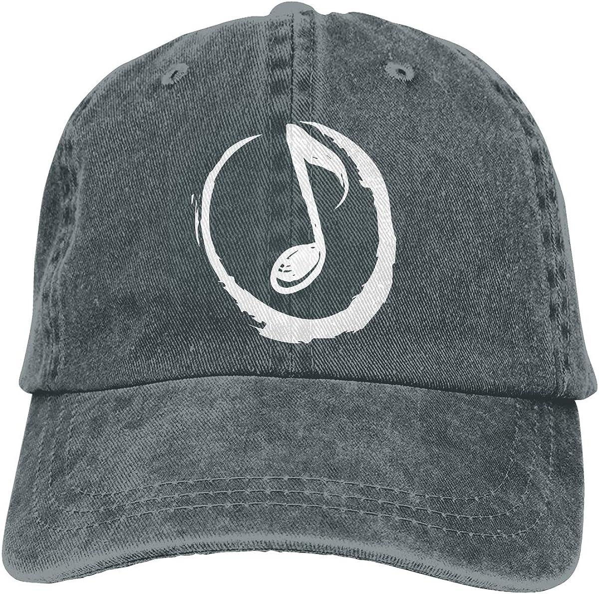 Adult Fashion Cotton Denim Baseball Cap Round Music Note Classic Dad Hat Adjustable Plain Cap