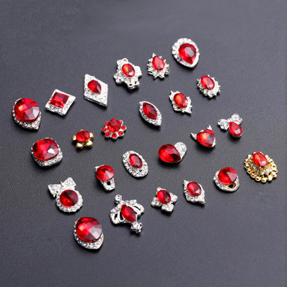 20PCS Nail Art Rhinestones 3D Flat Back Crystals Gems Stones Charms DIY Crafts Decorations Red (Red+Green)