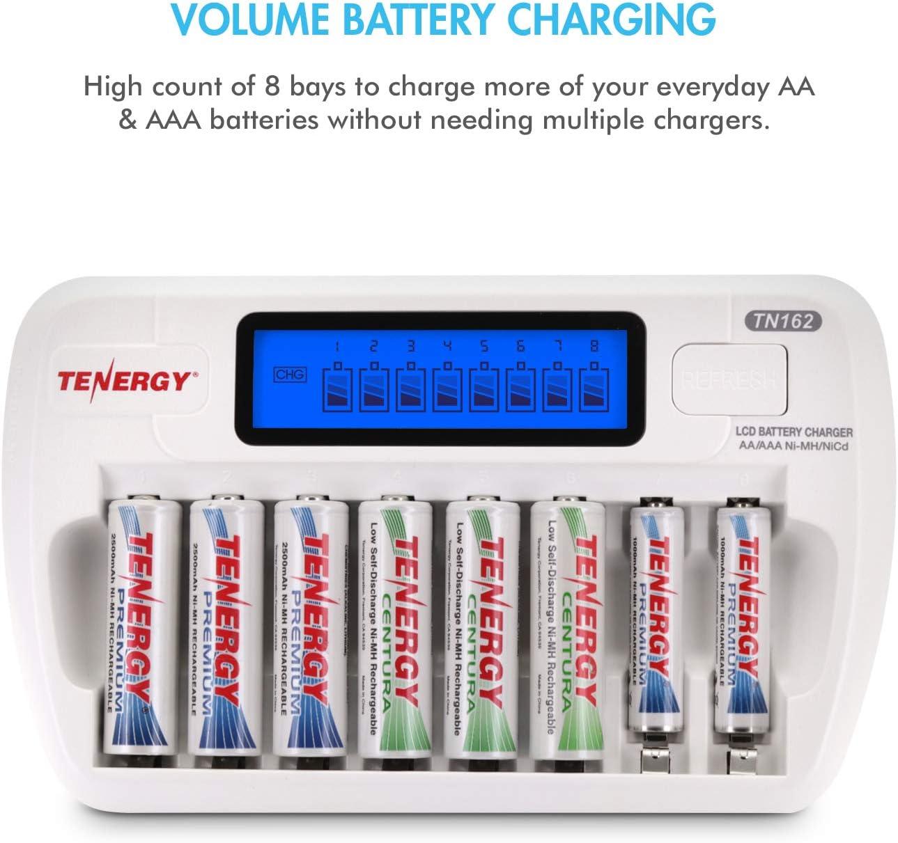 LSD Combo: Tenergy TN162 8-Bay Smart LCD AA//AAA NiMH//NiCd Charger NiMH Rechargeable Batteries 4xAA /& 4xAAA Centura
